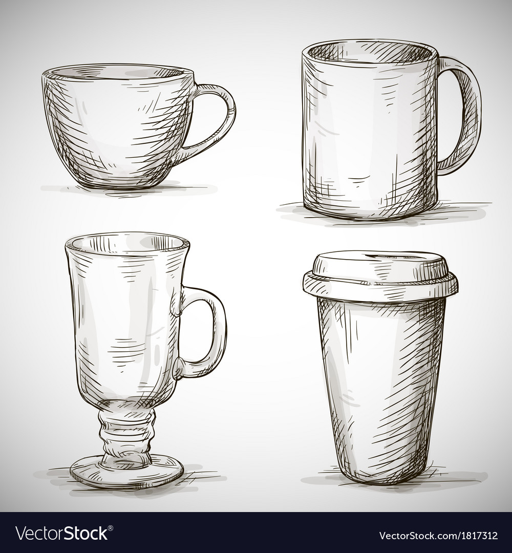 Set of coffe mugs drawing vector | Price: 1 Credit (USD $1)