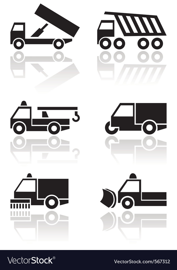 Truck van symbol set vector | Price: 1 Credit (USD $1)