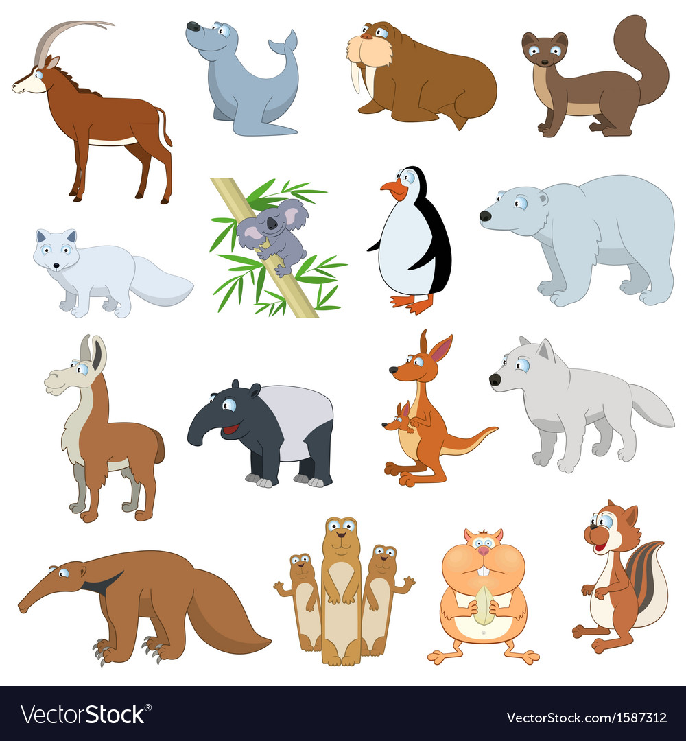 Various wildlife animals set vector | Price: 5 Credit (USD $5)