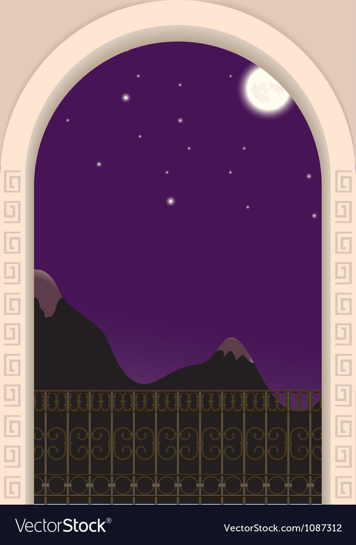 View from the balcony on a moonlit night vector | Price: 1 Credit (USD $1)