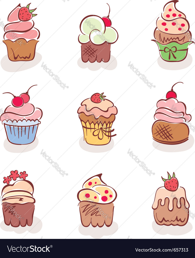 Cup cakes vector | Price: 3 Credit (USD $3)
