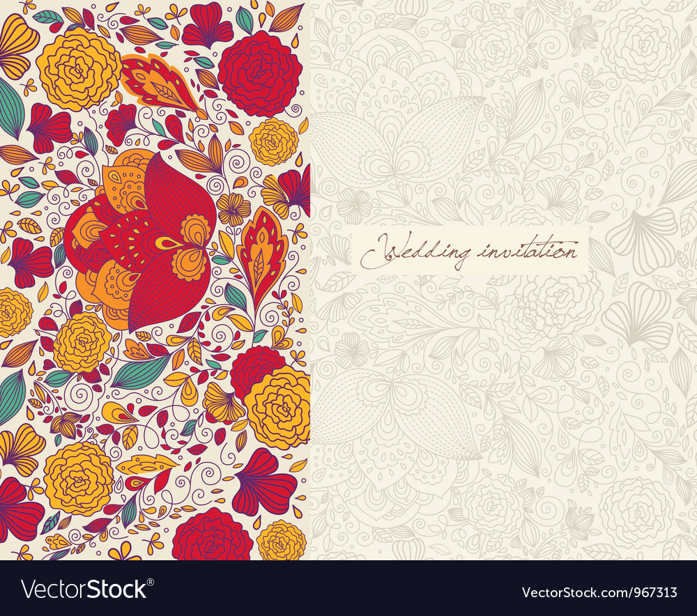 Floral wedding invitation vector | Price: 1 Credit (USD $1)