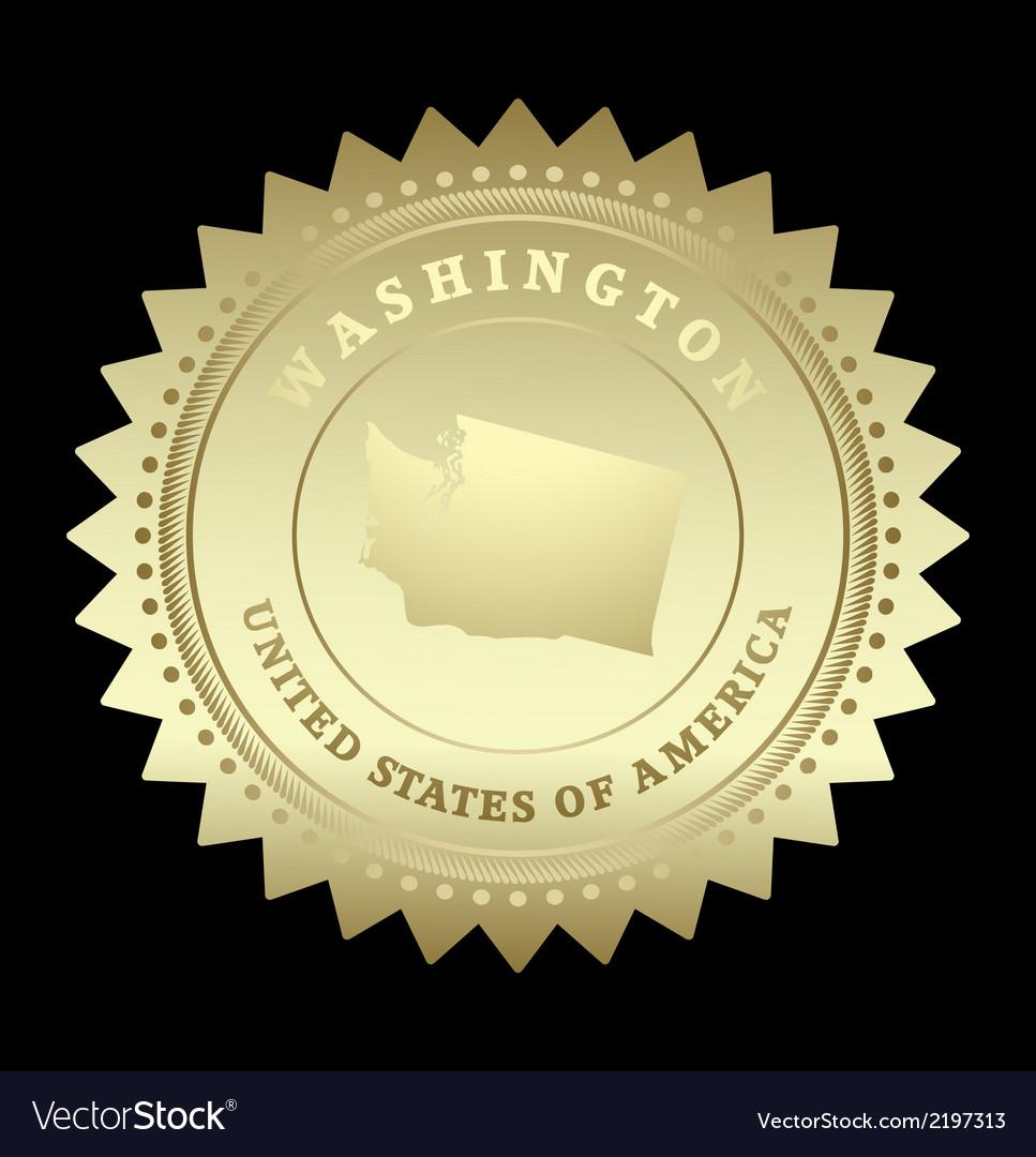 Gold star label washington vector | Price: 1 Credit (USD $1)