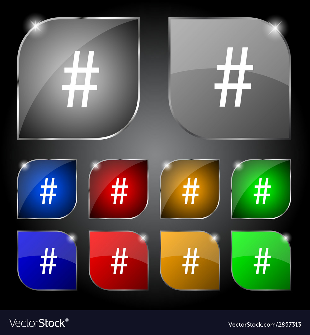 Hash tag icon set colourful buttons sign vector | Price: 1 Credit (USD $1)