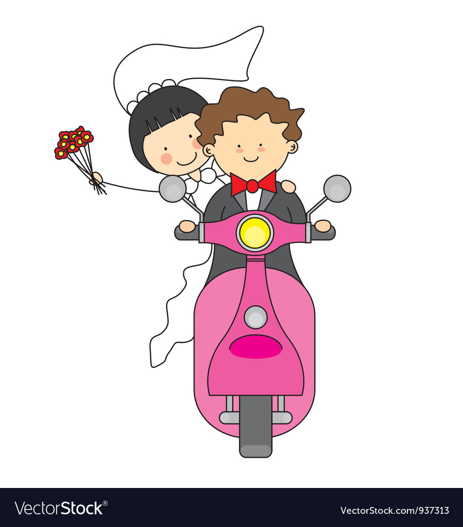 Just married by motorcycle vector | Price: 3 Credit (USD $3)