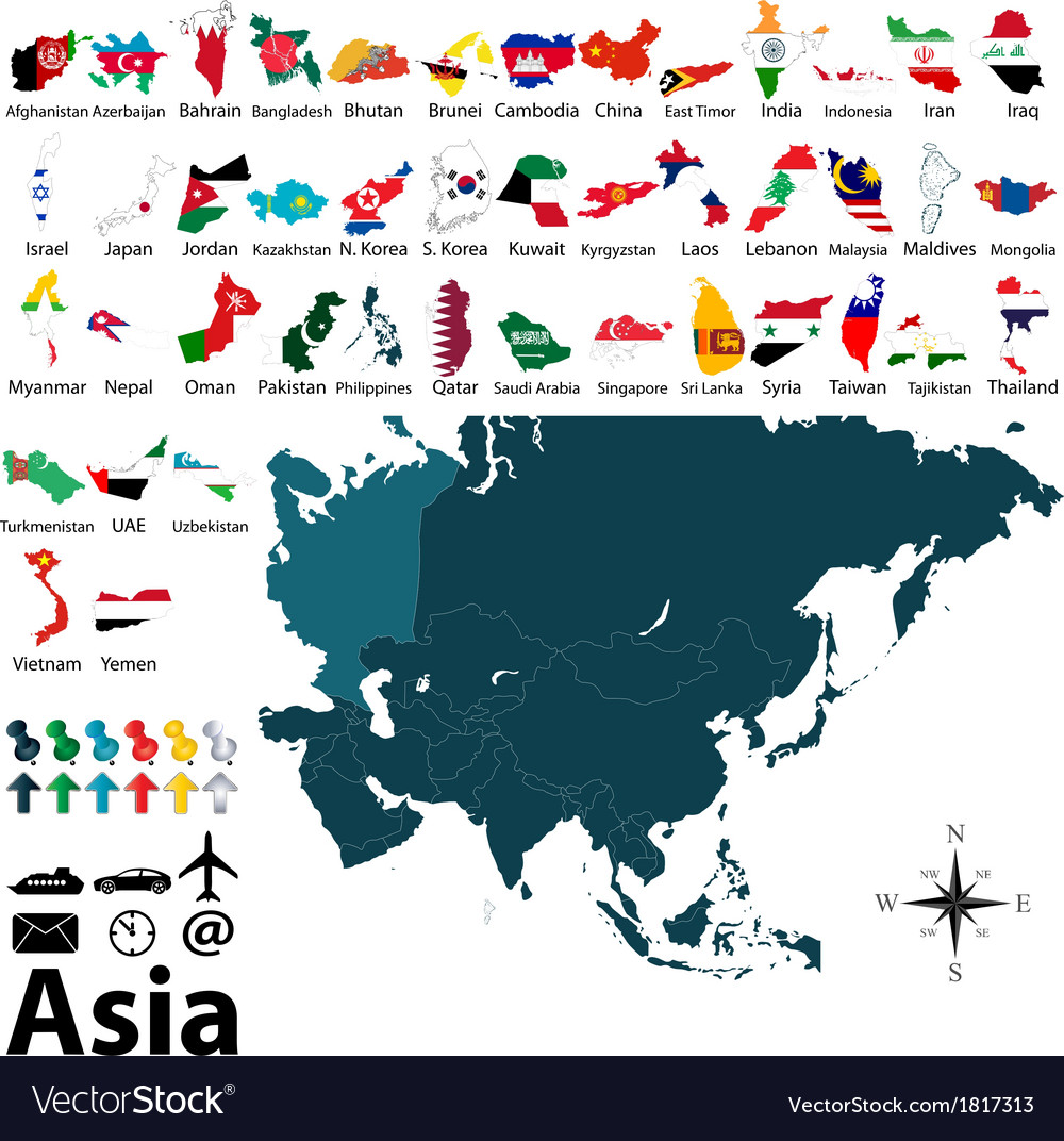 Maps with flags of asia vector | Price: 1 Credit (USD $1)