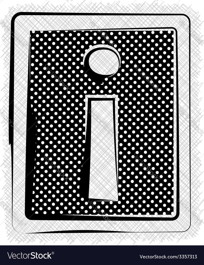 Polka dot font letter i vector