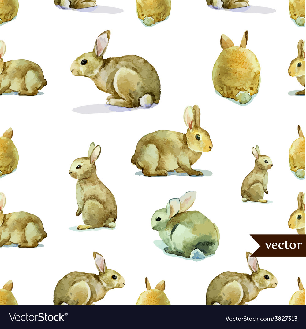 Rabbit hare pattern watercolor vector | Price: 1 Credit (USD $1)