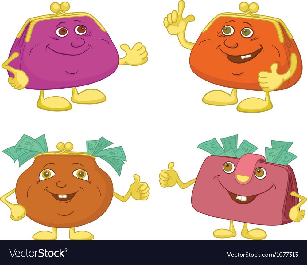 Set cartoon smiling purses vector | Price: 1 Credit (USD $1)
