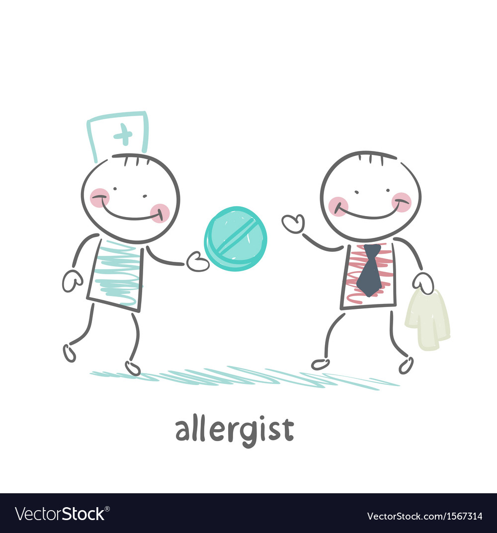 Allergist gives the patient a pill vector | Price: 1 Credit (USD $1)