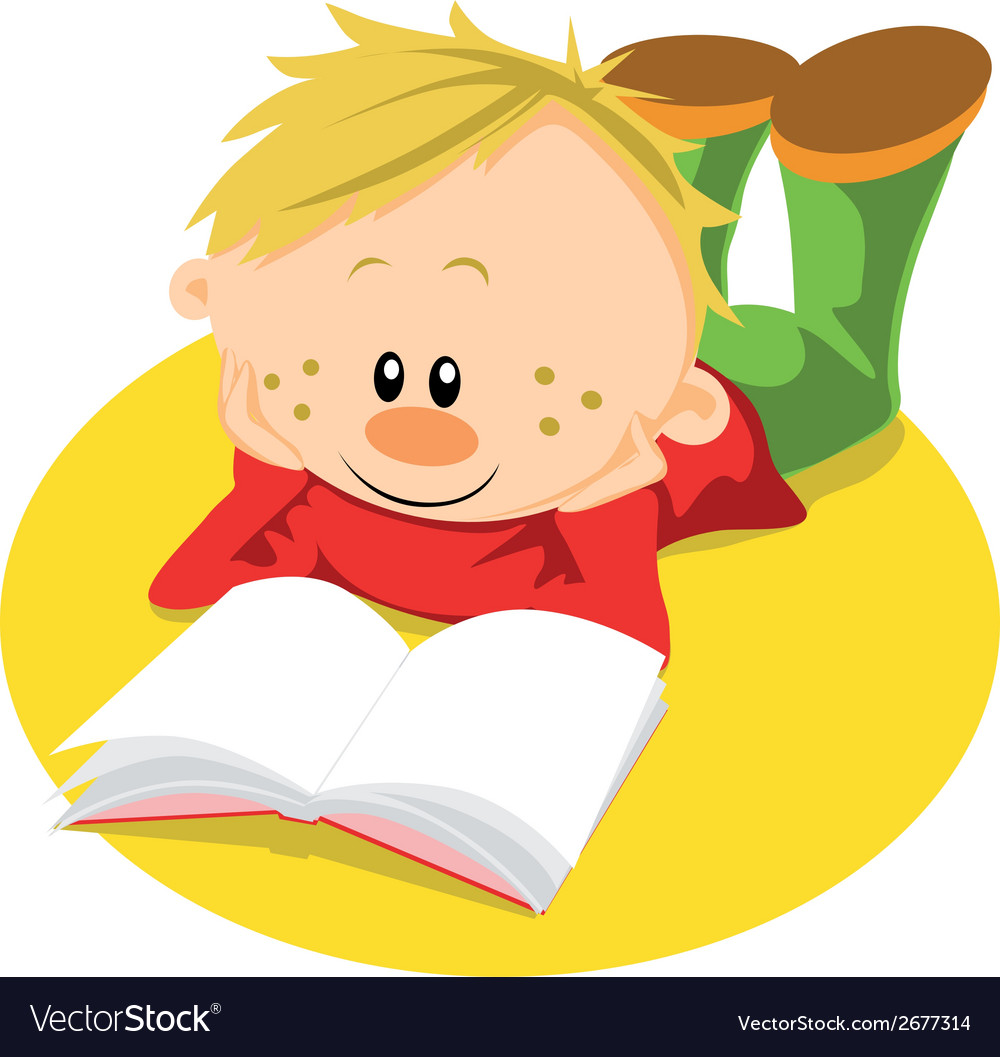 Boy with book vector | Price: 1 Credit (USD $1)