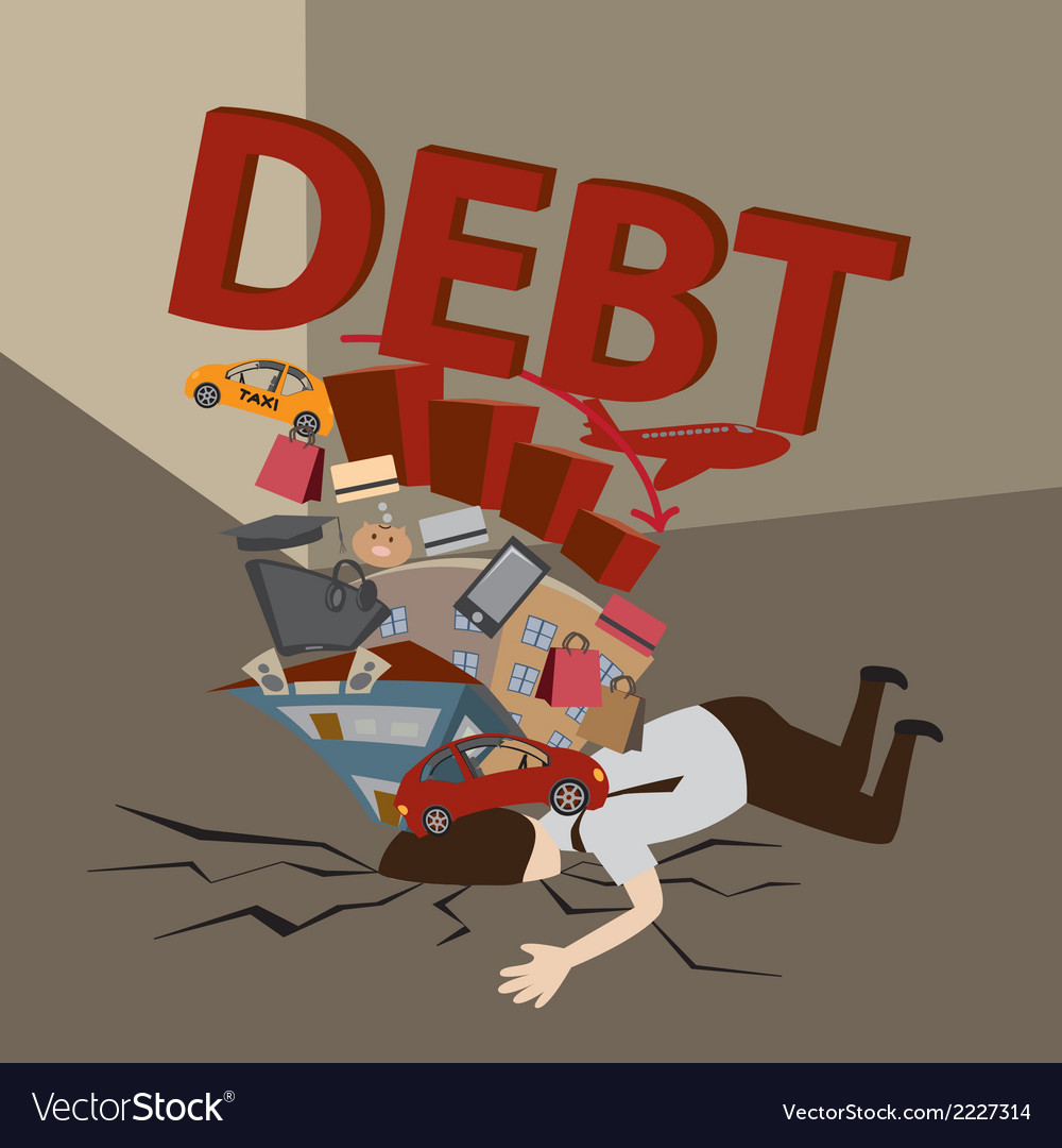 Businessman with debt vector | Price: 1 Credit (USD $1)