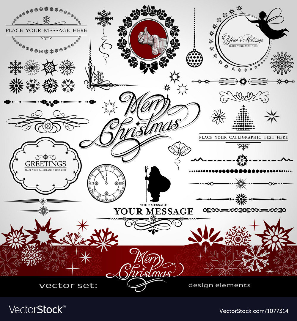 Christmas and new year decorative set vector | Price: 1 Credit (USD $1)