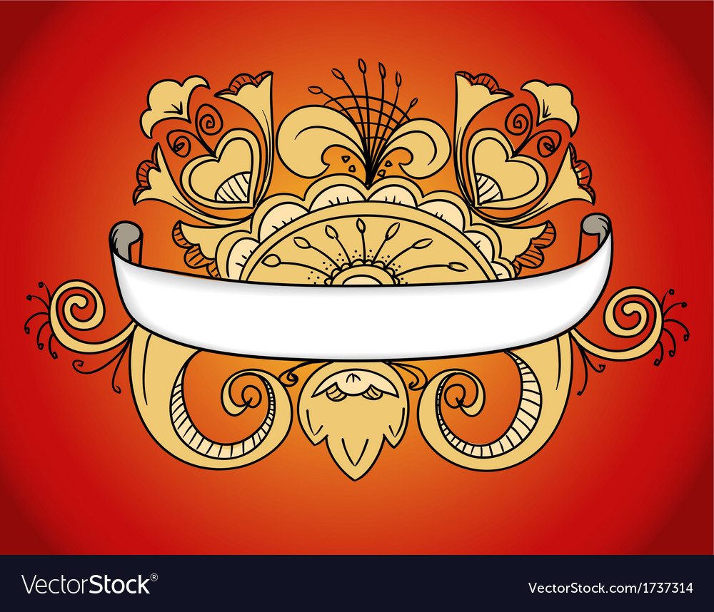 Fantastic style ornamented banner on red vector | Price: 1 Credit (USD $1)