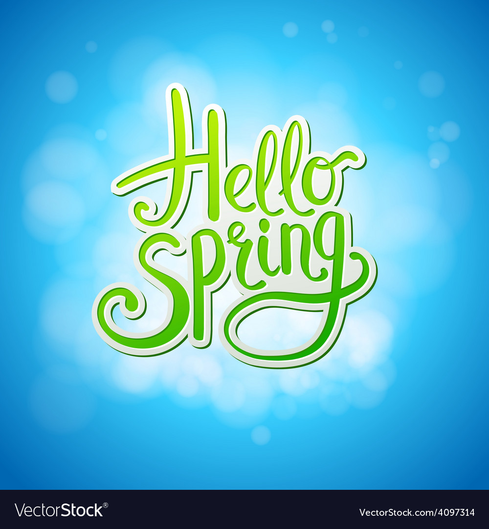 Happy sparkling hello spring card design vector | Price: 1 Credit (USD $1)