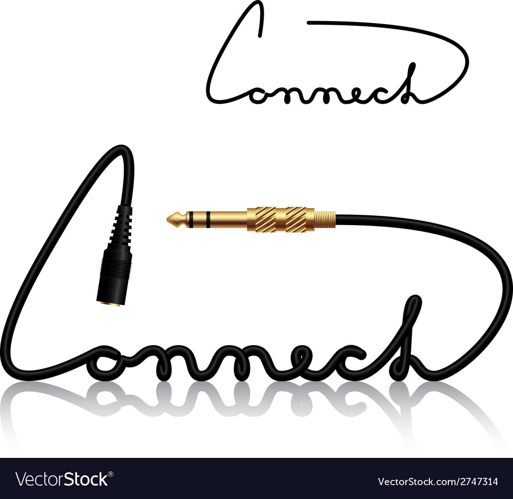 Jack connectors connect calligraphy vector | Price: 1 Credit (USD $1)
