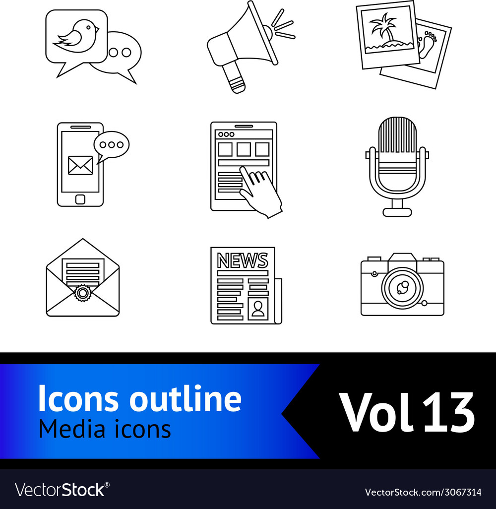 Media icons outline vector | Price: 1 Credit (USD $1)