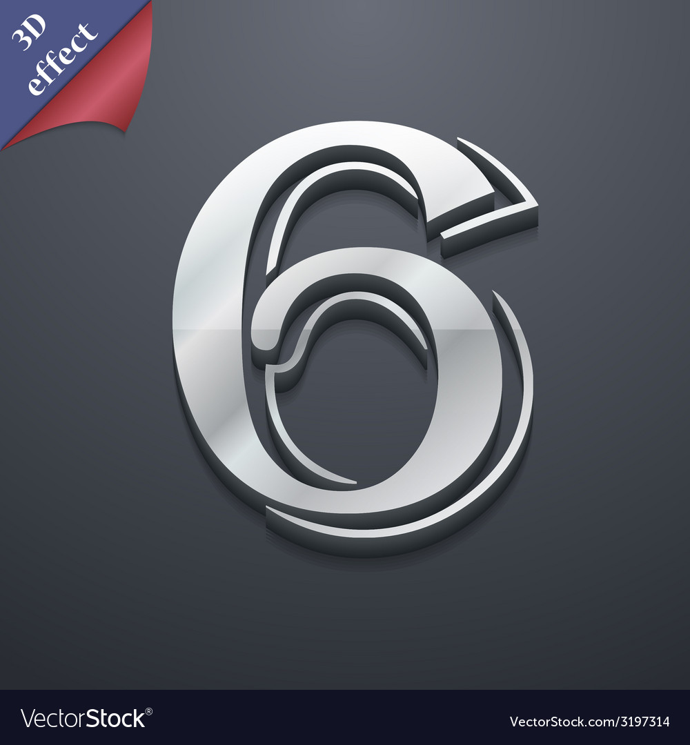Number six icon symbol 3d style trendy modern vector | Price: 1 Credit (USD $1)