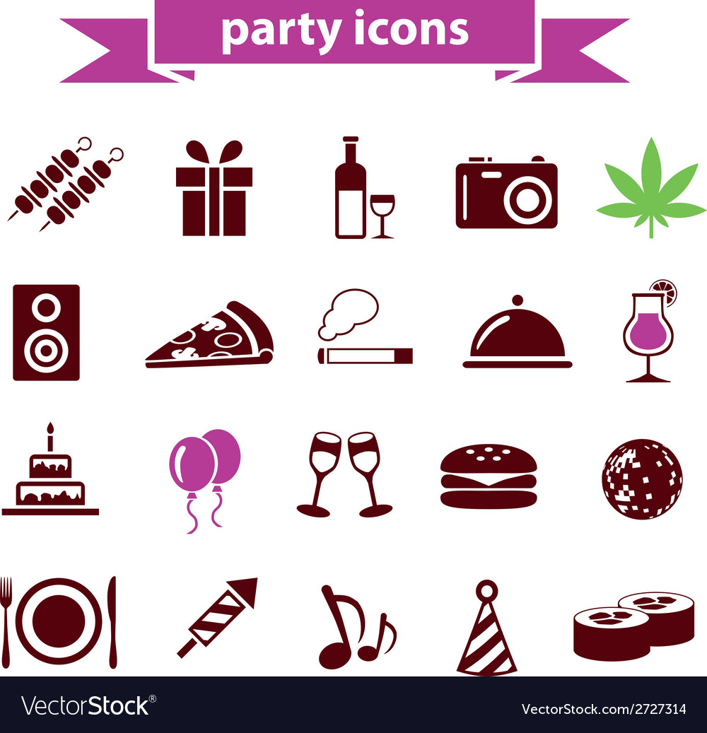 Party icons vector | Price: 1 Credit (USD $1)