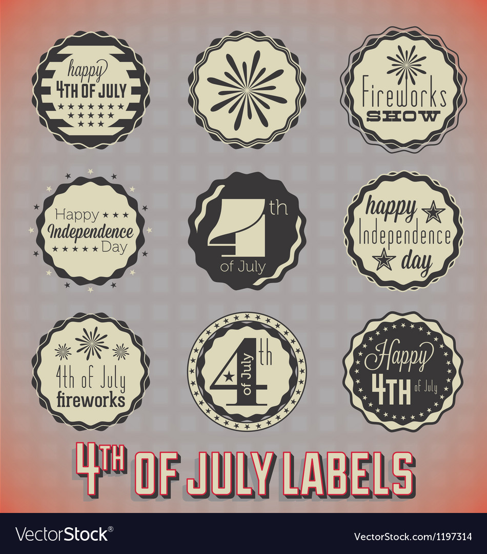 Retro fourth of july labels and icons vector | Price: 1 Credit (USD $1)