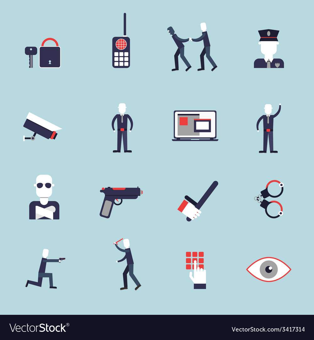 Security guard flat icons vector   Price: 1 Credit (USD $1)