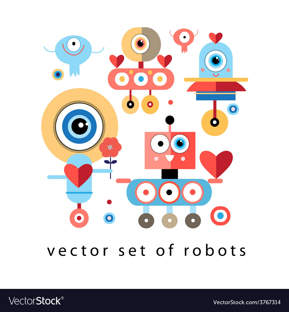 Set of funny robots lovers vector | Price: 1 Credit (USD $1)