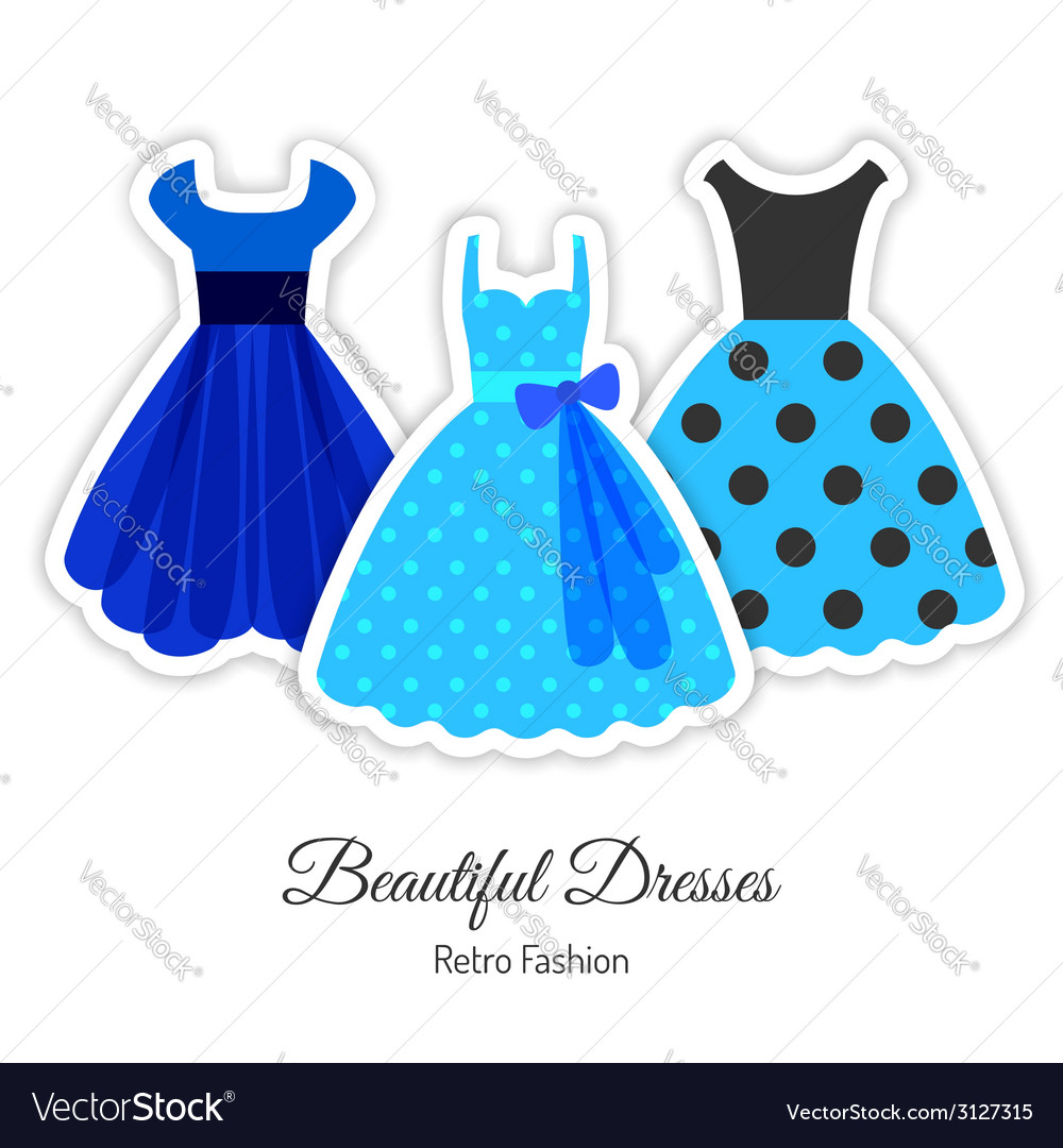 Blue retro dresses background vector | Price: 1 Credit (USD $1)