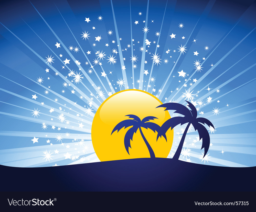 Evening sky and palm trees vector | Price: 1 Credit (USD $1)