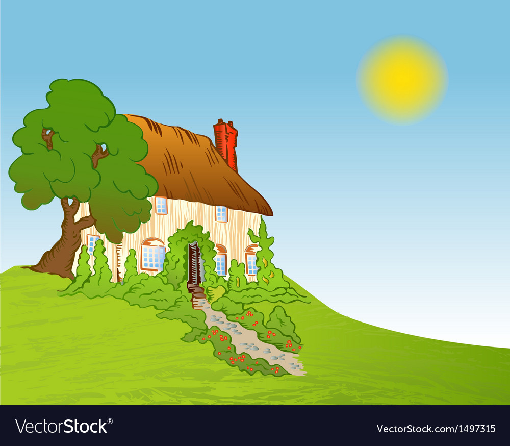 House with plants background vector | Price: 1 Credit (USD $1)