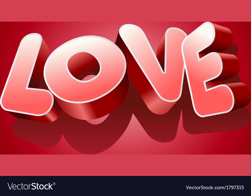 Love text on red background for valentines day vector | Price: 1 Credit (USD $1)