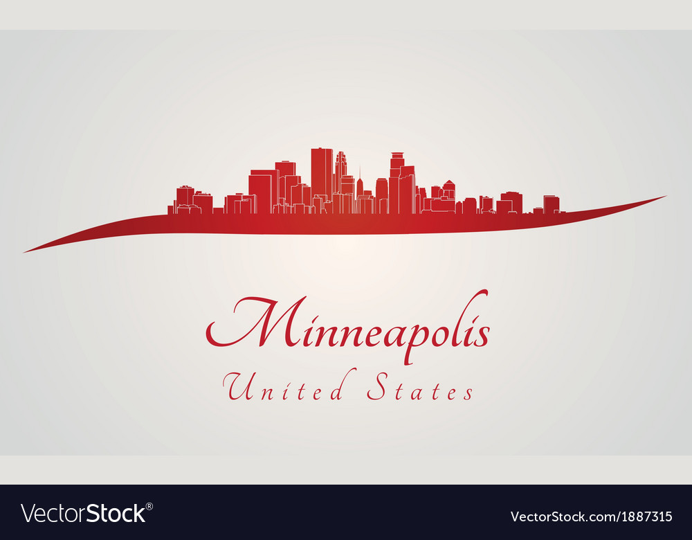 Minneapolis skyline in red vector | Price: 1 Credit (USD $1)