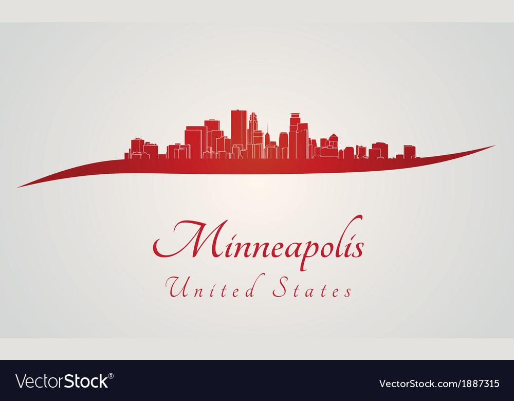 Minneapolis skyline in red vector | Price: 1 Credit (USD $1)