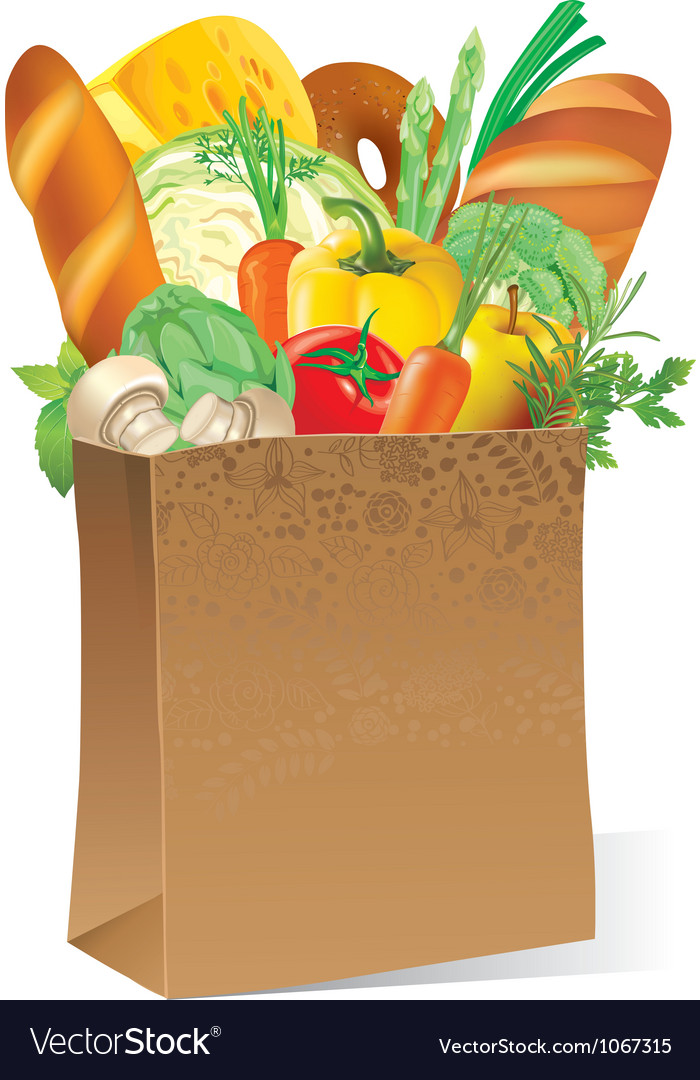 Paper bag with food vector | Price: 3 Credit (USD $3)
