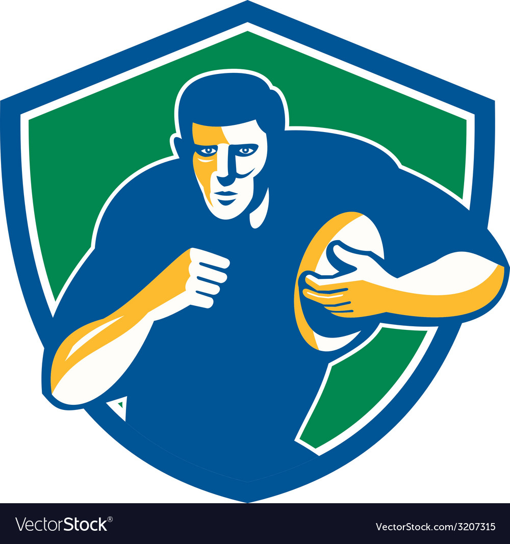 Rugby player running fending shield retro vector | Price: 1 Credit (USD $1)