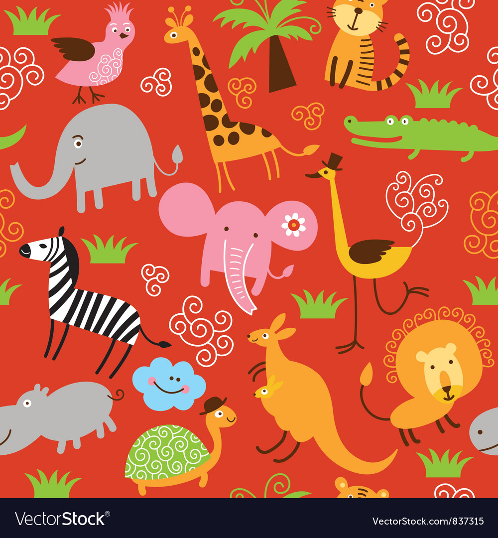 Seamless pattern with cute animals vector | Price: 3 Credit (USD $3)