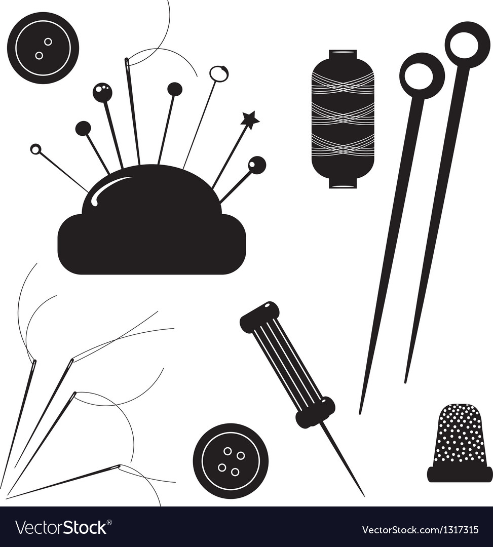 Sewing kit set for sewing on a white background vector | Price: 1 Credit (USD $1)