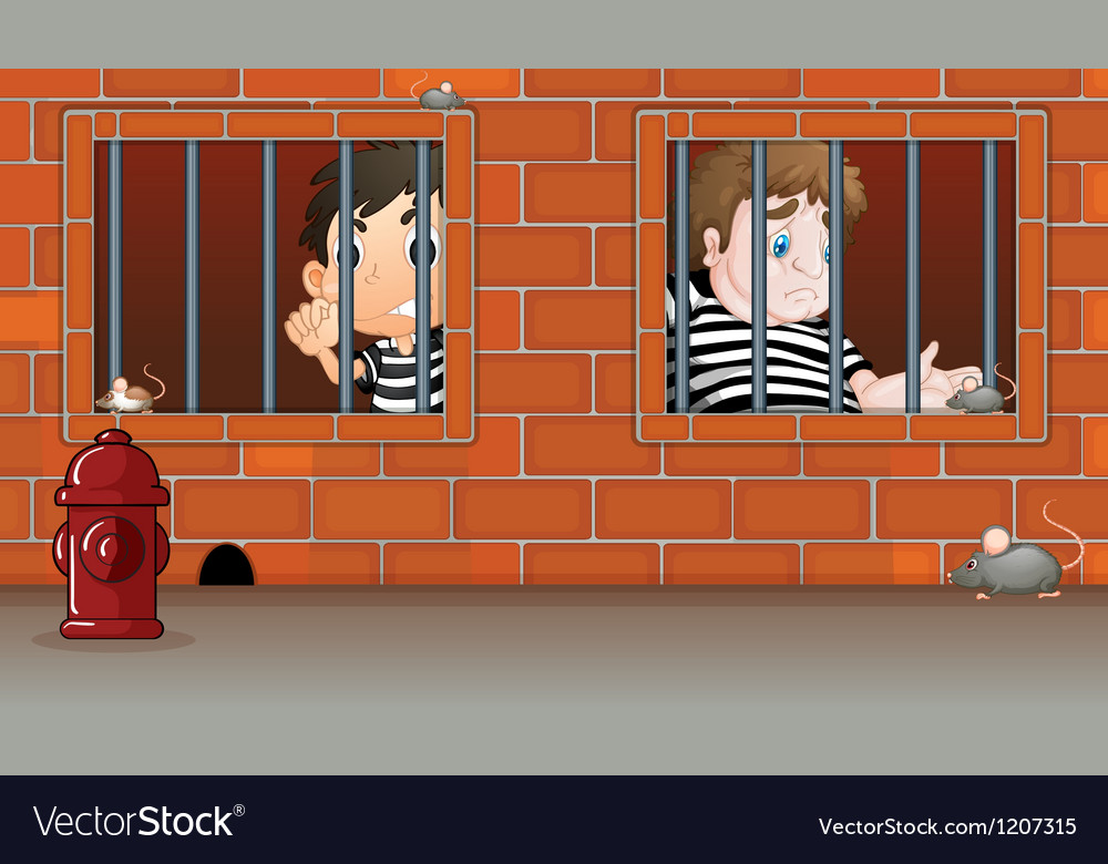 Two boys inside the jail vector   Price: 1 Credit (USD $1)