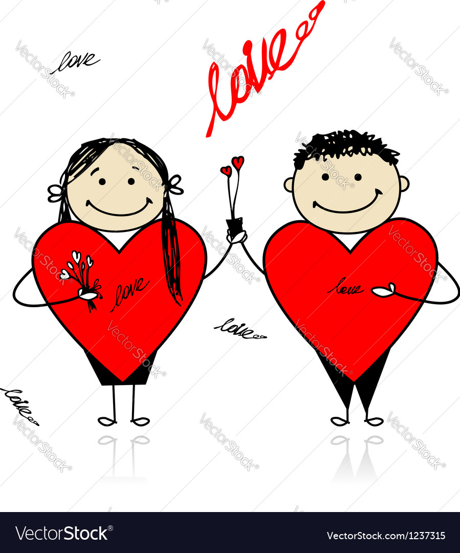 Valentine day couple with big red hearts for your vector | Price: 1 Credit (USD $1)