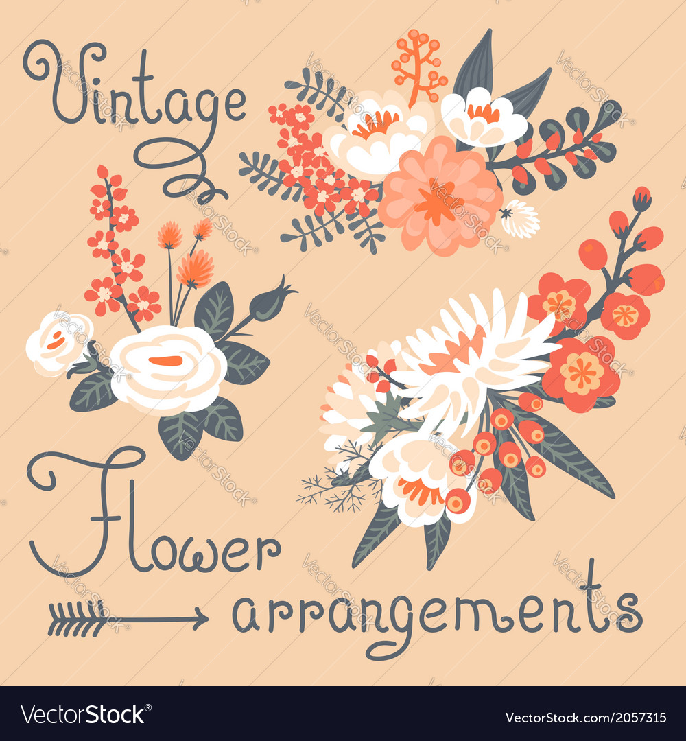 Vintage flowers cute flower for design vector | Price: 1 Credit (USD $1)