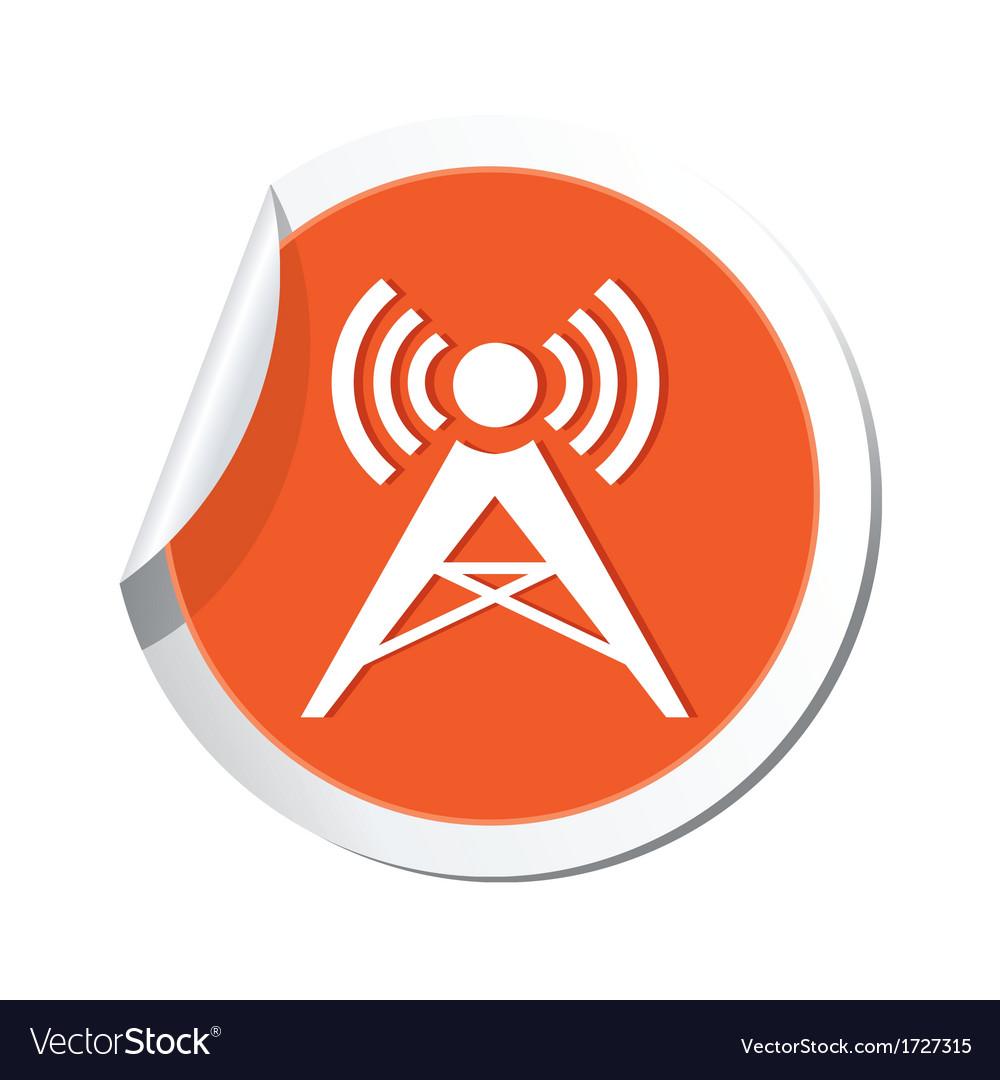 Wireless icon orange sticker vector | Price: 1 Credit (USD $1)