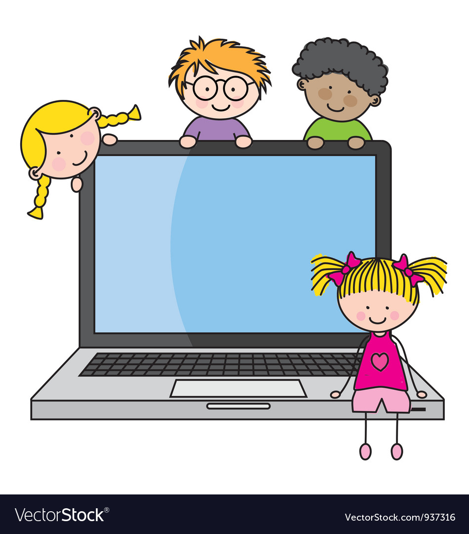 Children with a computer vector | Price: 3 Credit (USD $3)