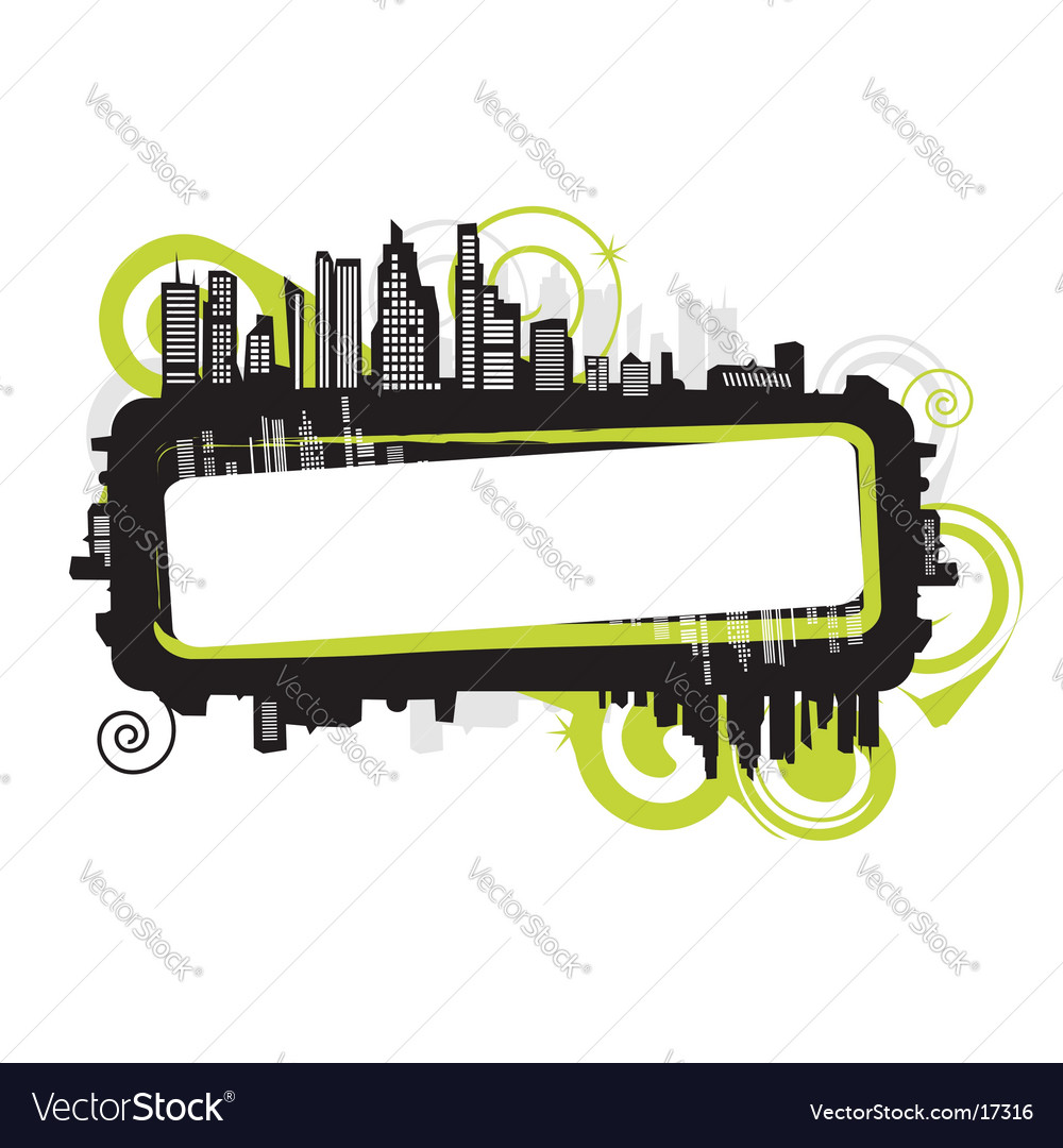 Cityscape silhouette frame vector | Price: 1 Credit (USD $1)