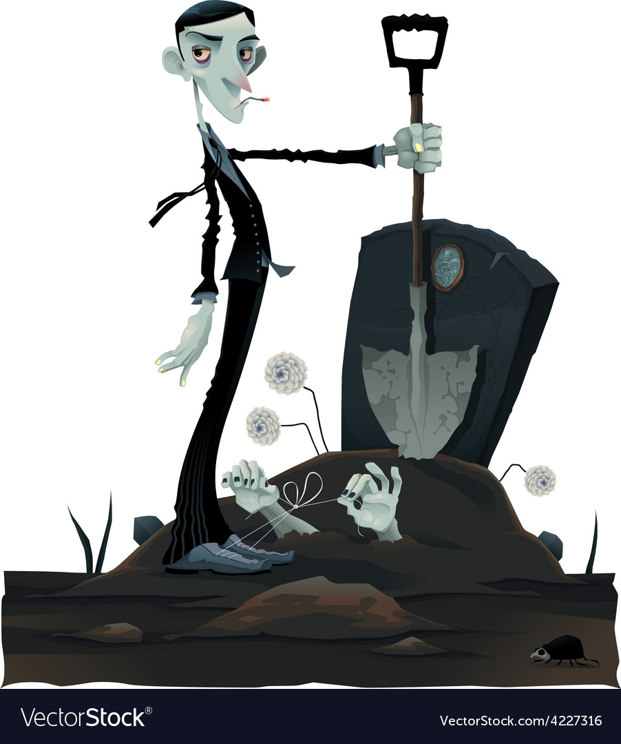 Funny scene in the cemetery vector