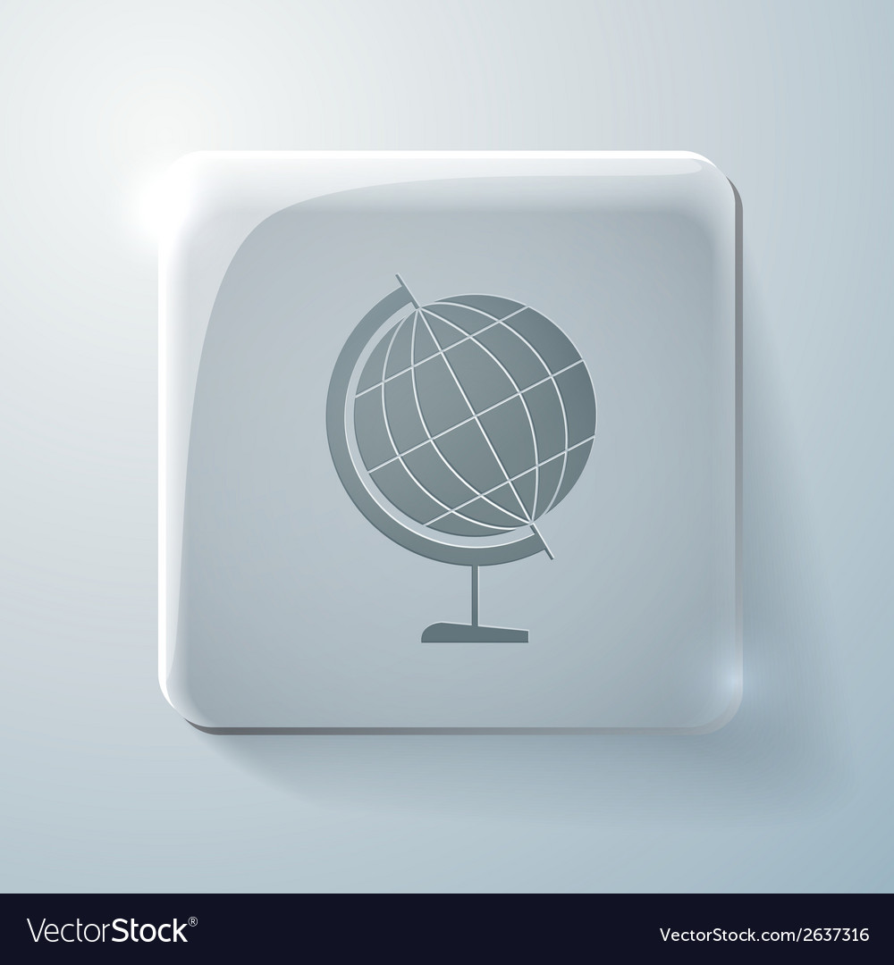 Globe glass square icon with highlights vector | Price: 1 Credit (USD $1)