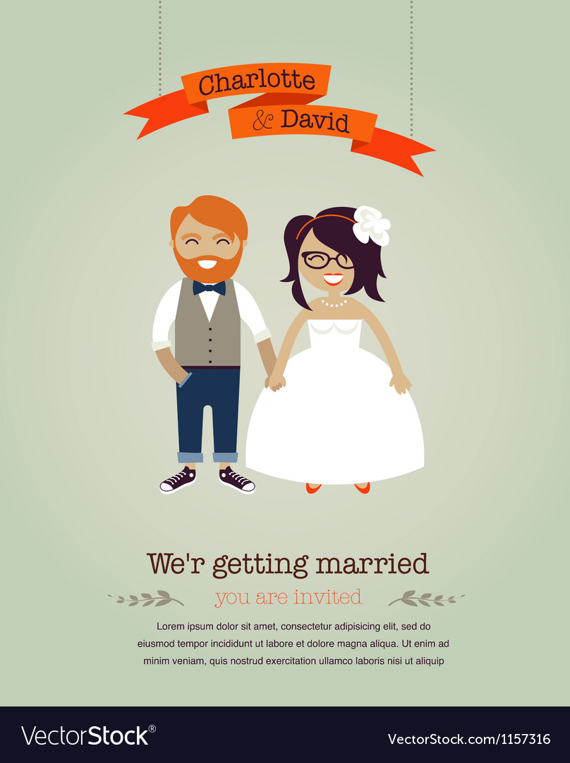 Hipster wedding invitation card vector | Price: 1 Credit (USD $1)