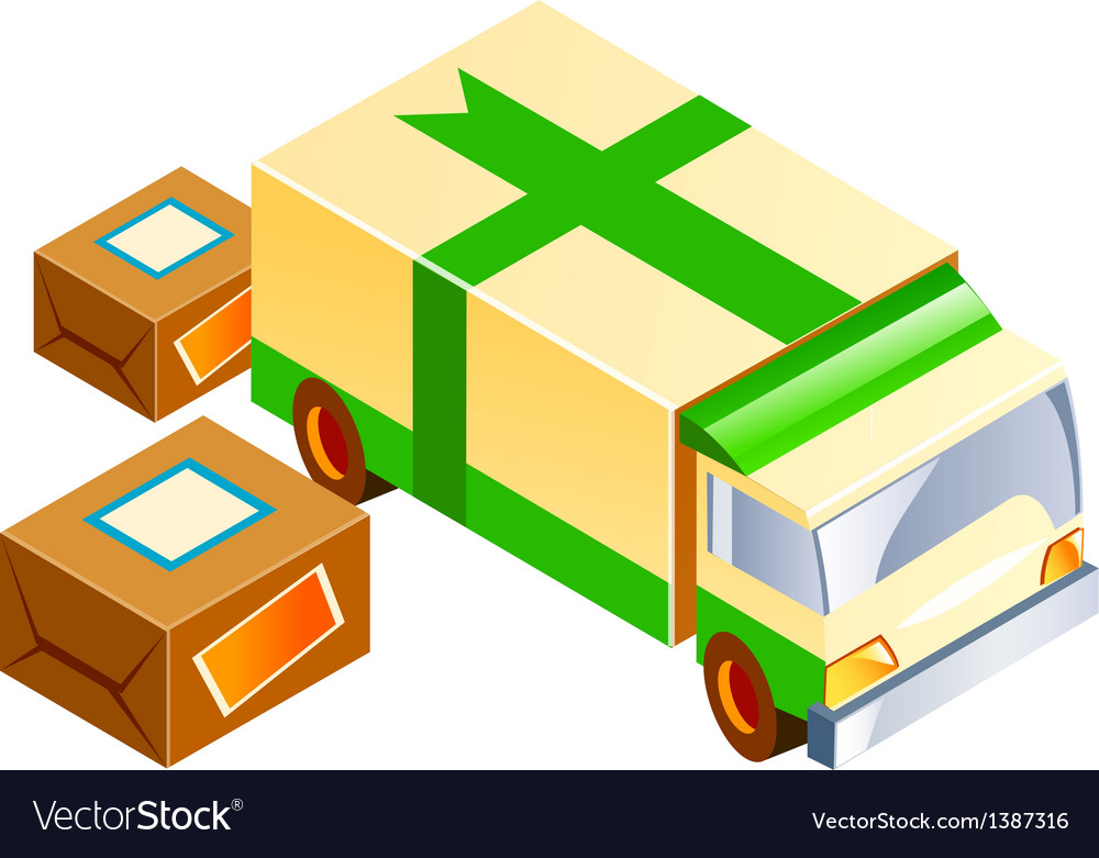 Icon truck and package vector | Price: 1 Credit (USD $1)