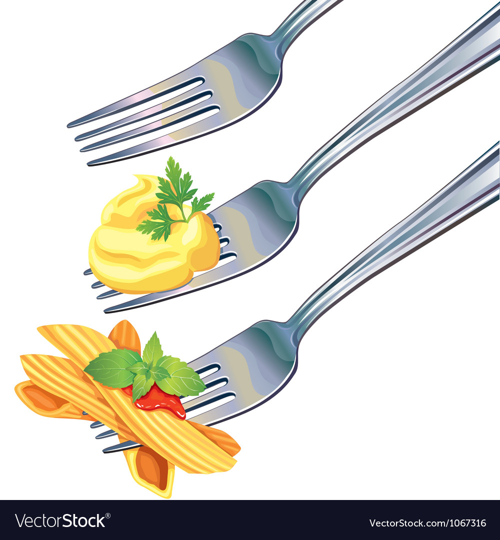Pasta and mashed potatoes on fork vector | Price: 1 Credit (USD $1)