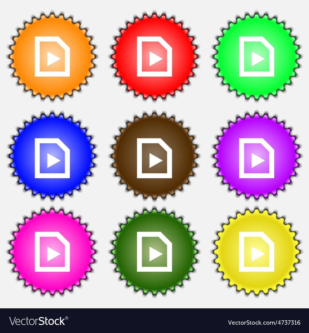 Play icon sign a set of nine different colored vector   Price: 1 Credit (USD $1)