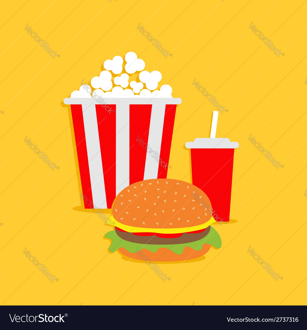 Popcorn hamburger soda with straw cinema icon vector | Price: 1 Credit (USD $1)
