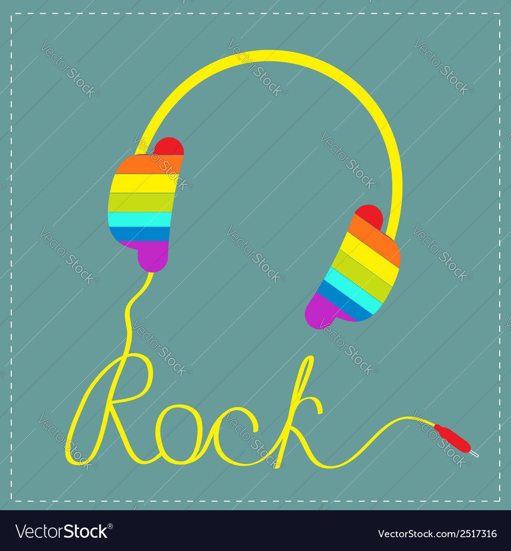 Rainbow headphones cord word rock and sunglasses vector | Price: 1 Credit (USD $1)